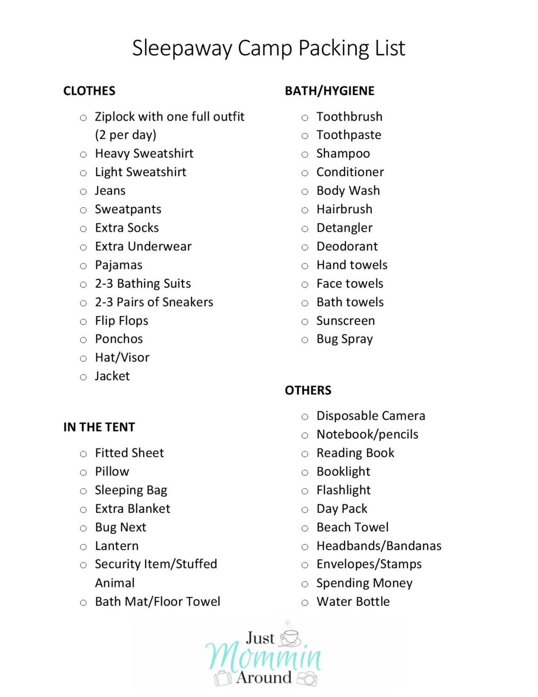 Sleepaway Camp Packing List-Just Mommin Around-page-001